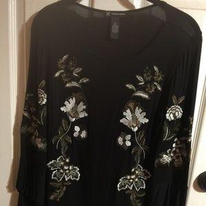 Black w/floral design & ruffled long sleeve